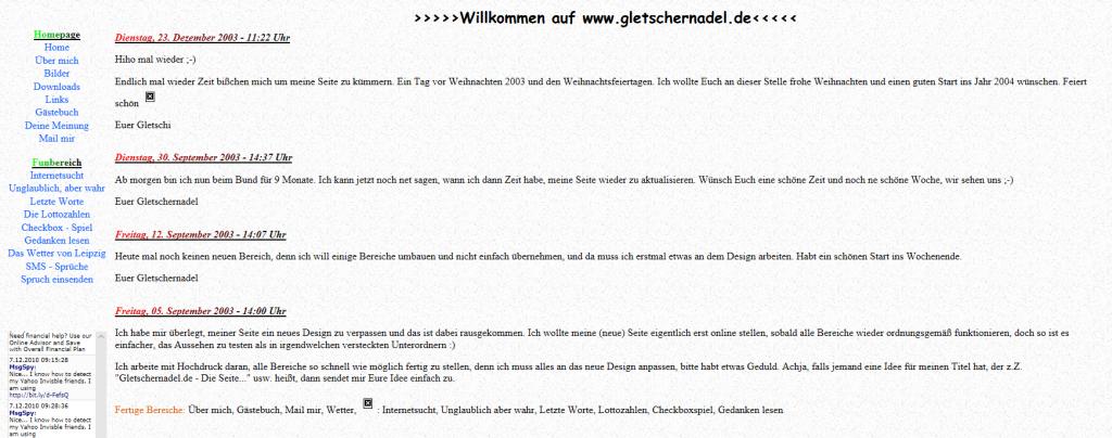 gletschernadel.de am 21. Januar 2004 | archive.org