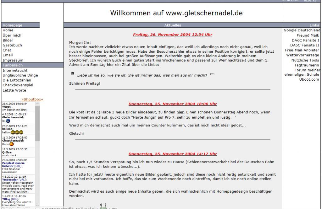 Startseite von gletschernadel.de am 05.12.2004 | archive.org